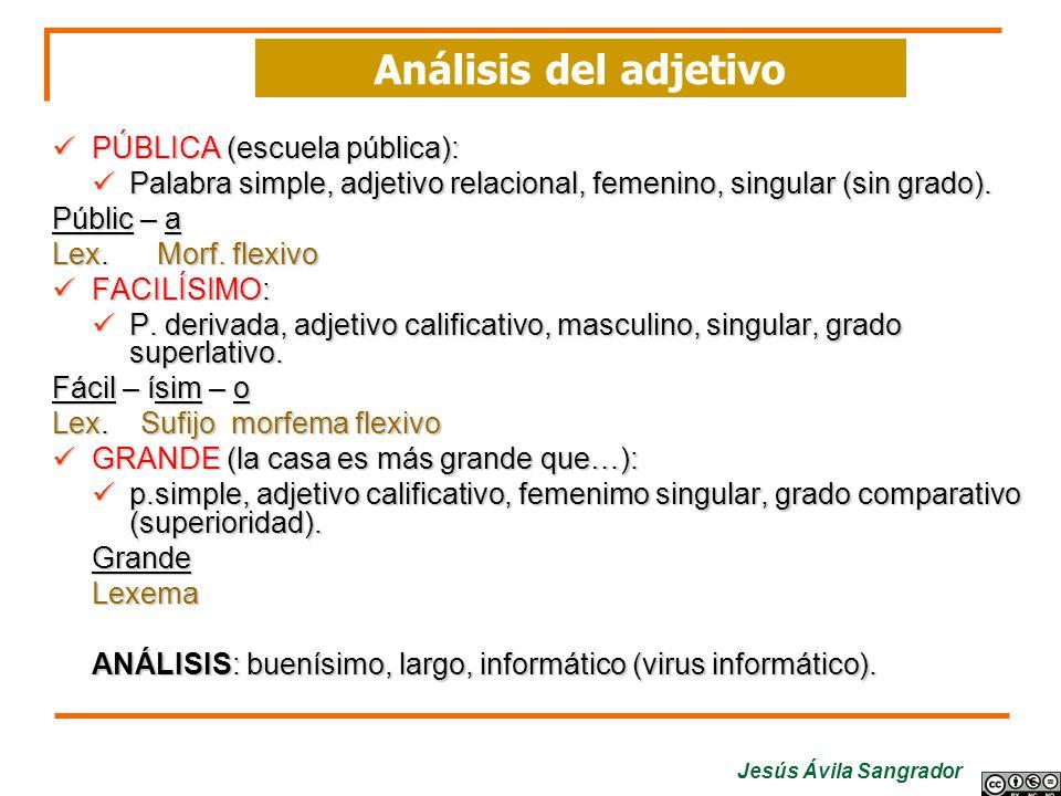 Jesús Ávila Sangrador PÚBLICA (escuela pública): Palabra simple, adjetivo relacional, femenino, singular (sin grado). Públic – a Lex. Morf. flexivo FA
