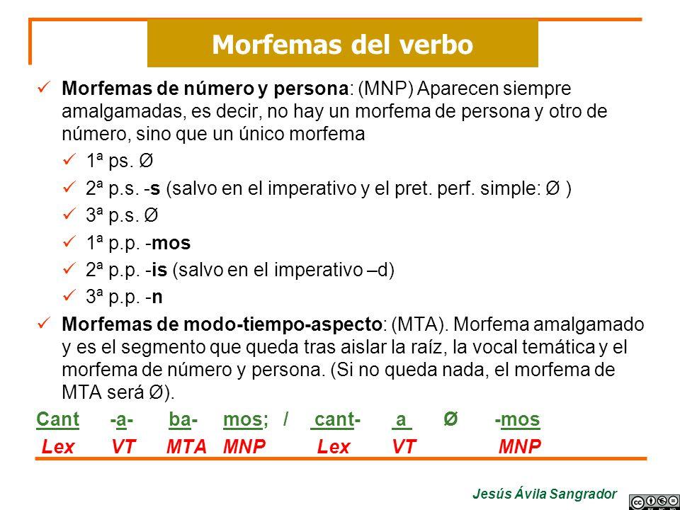 Jesús Ávila Sangrador Morfemas de número y persona: (MNP) Aparecen siempre amalgamadas, es decir, no hay un morfema de persona y otro de número, sino