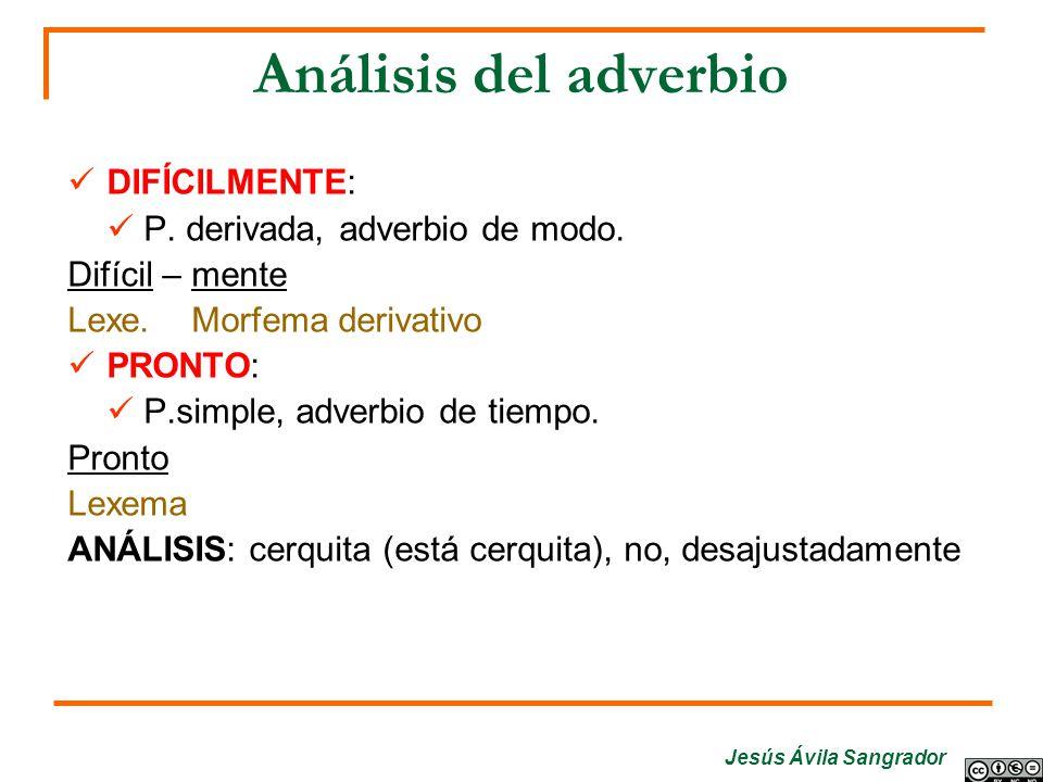 Análisis del adverbio DIFÍCILMENTE: P. derivada, adverbio de modo. Difícil – mente Lexe. Morfema derivativo PRONTO: P.simple, adverbio de tiempo. Pron