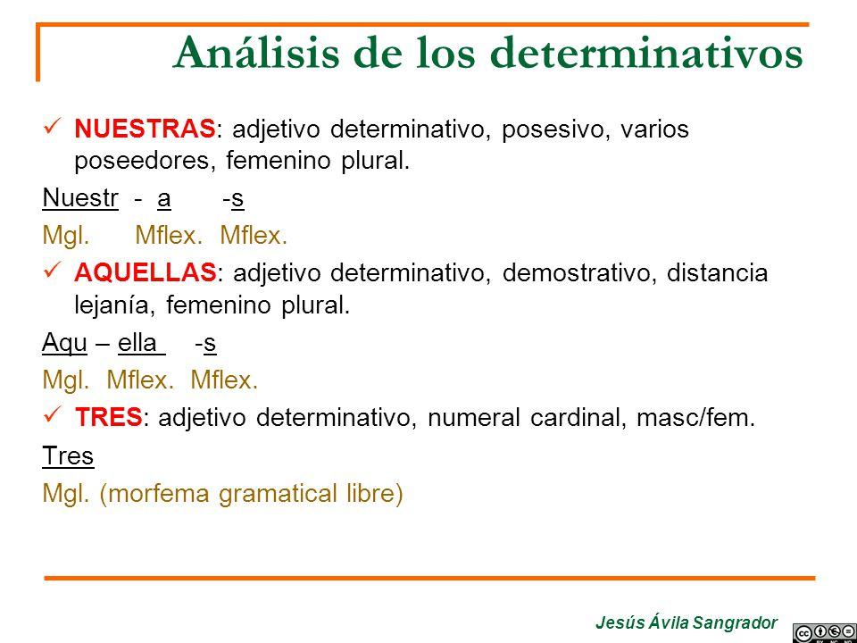 Jesús Ávila Sangrador Análisis de los determinativos NUESTRAS: adjetivo determinativo, posesivo, varios poseedores, femenino plural. Nuestr - a -s Mgl
