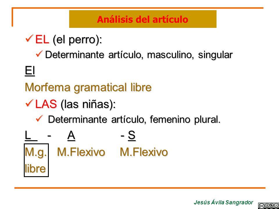 Jesús Ávila Sangrador EL (el perro): Determinante artículo, masculino, singular El Morfema gramatical libre LAS (las niñas): D Determinante artículo,