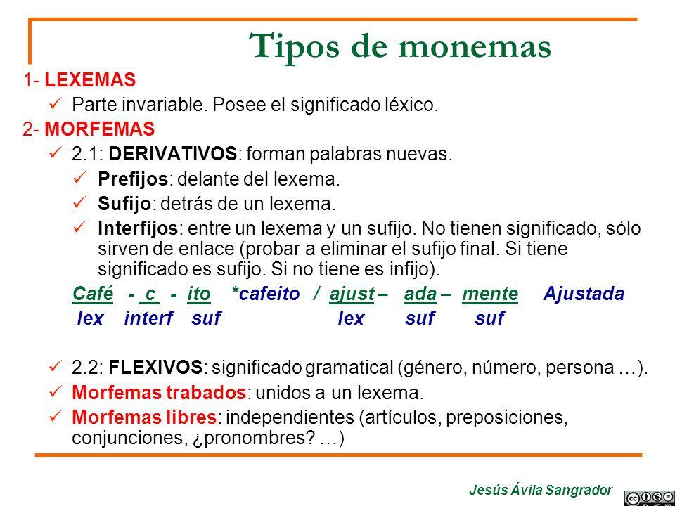 Jesús Ávila Sangrador Tipos de monemas 1- LEXEMAS Parte invariable. Posee el significado léxico. 2- MORFEMAS 2.1: DERIVATIVOS: forman palabras nuevas.