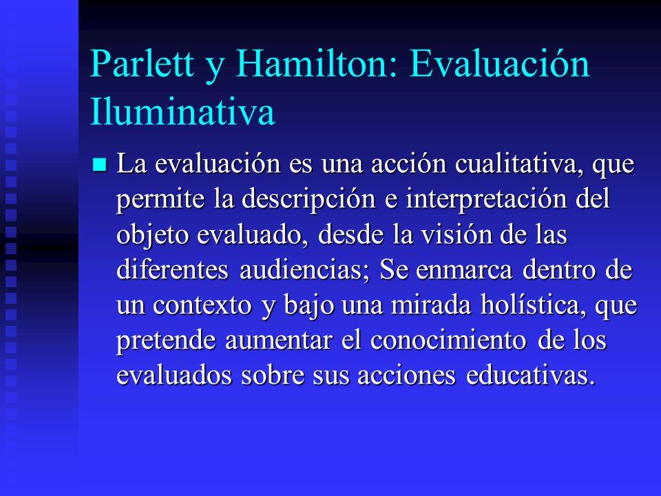 Parlett y Hamilton: Evaluación Iluminativa La evaluación es una acción cualitativa, que permite la descripción e interpretación del objeto evaluado, d