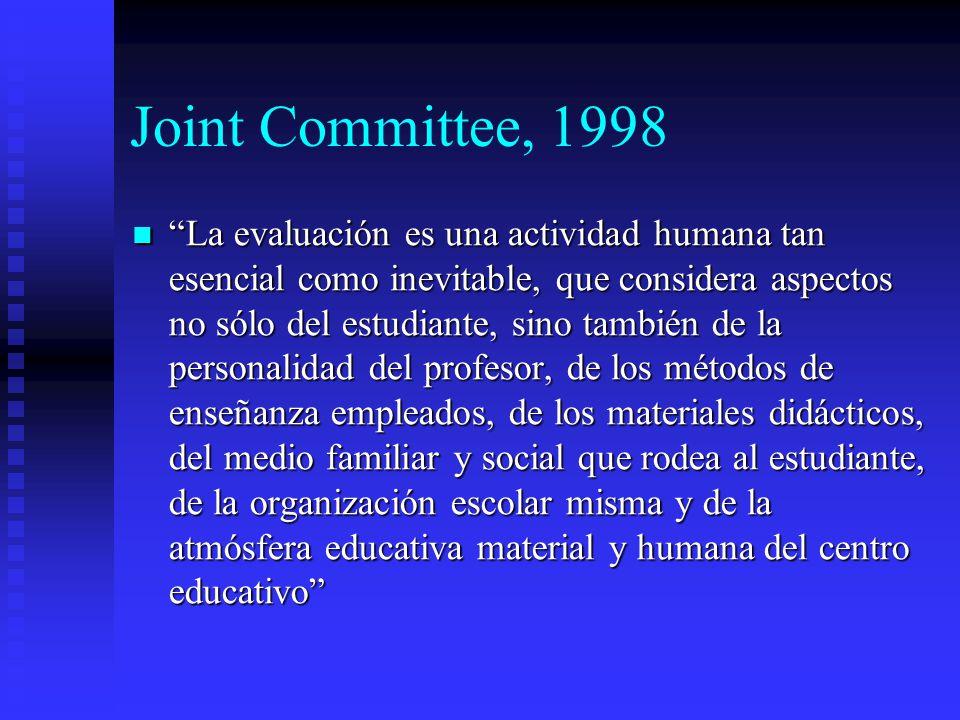 Joint Committee, 1998 La evaluación es una actividad humana tan esencial como inevitable, que considera aspectos no sólo del estudiante, sino también