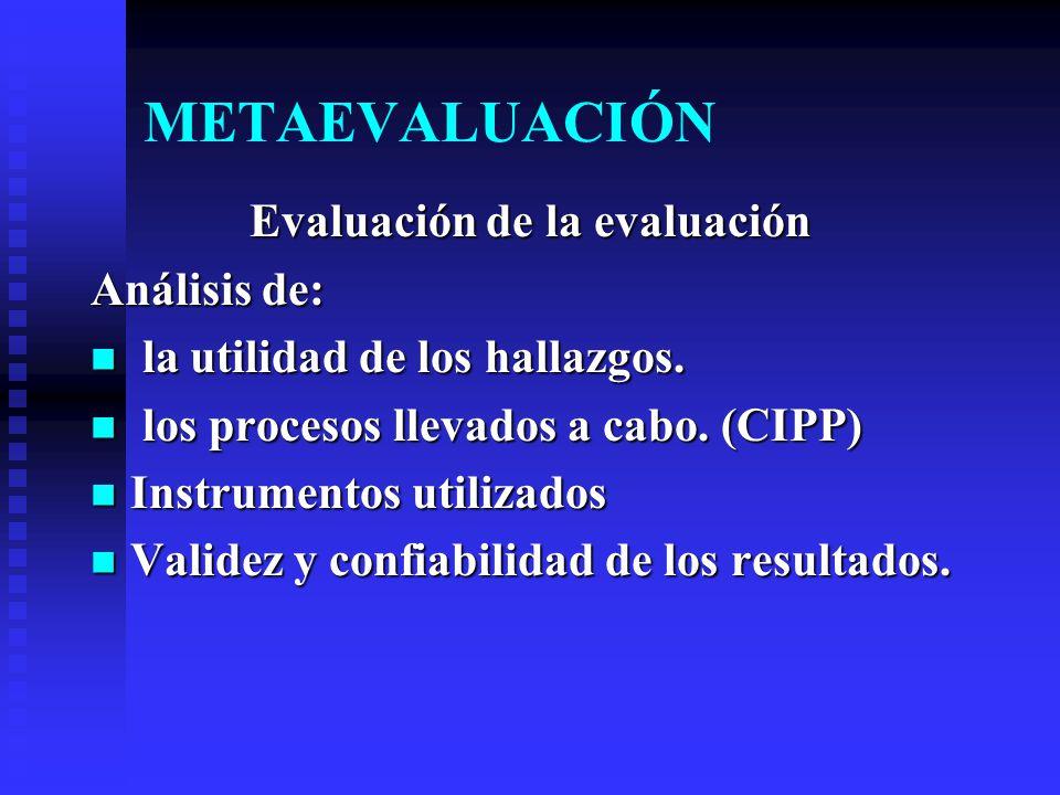 METAEVALUACIÓN Evaluación de la evaluación Análisis de: la utilidad de los hallazgos. la utilidad de los hallazgos. los procesos llevados a cabo. (CIP