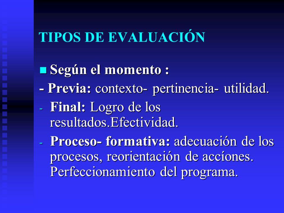 TIPOS DE EVALUACIÓN Según el momento : Según el momento : - Previa: contexto- pertinencia- utilidad. - Final: Logro de los resultados.Efectividad. - P