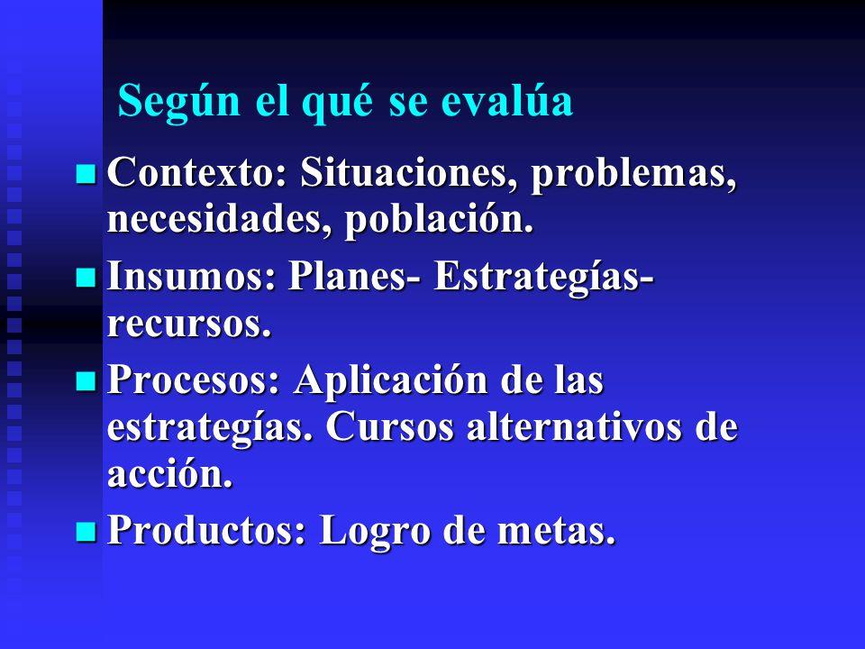 Según el qué se evalúa Contexto: Situaciones, problemas, necesidades, población. Contexto: Situaciones, problemas, necesidades, población. Insumos: Pl