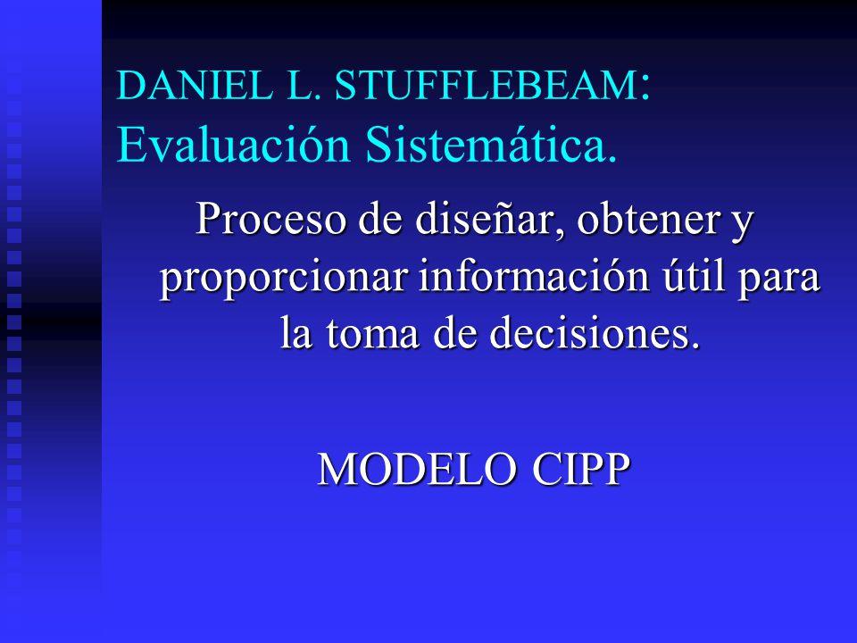 DANIEL L. STUFFLEBEAM : Evaluación Sistemática. Proceso de diseñar, obtener y proporcionar información útil para la toma de decisiones. MODELO CIPP