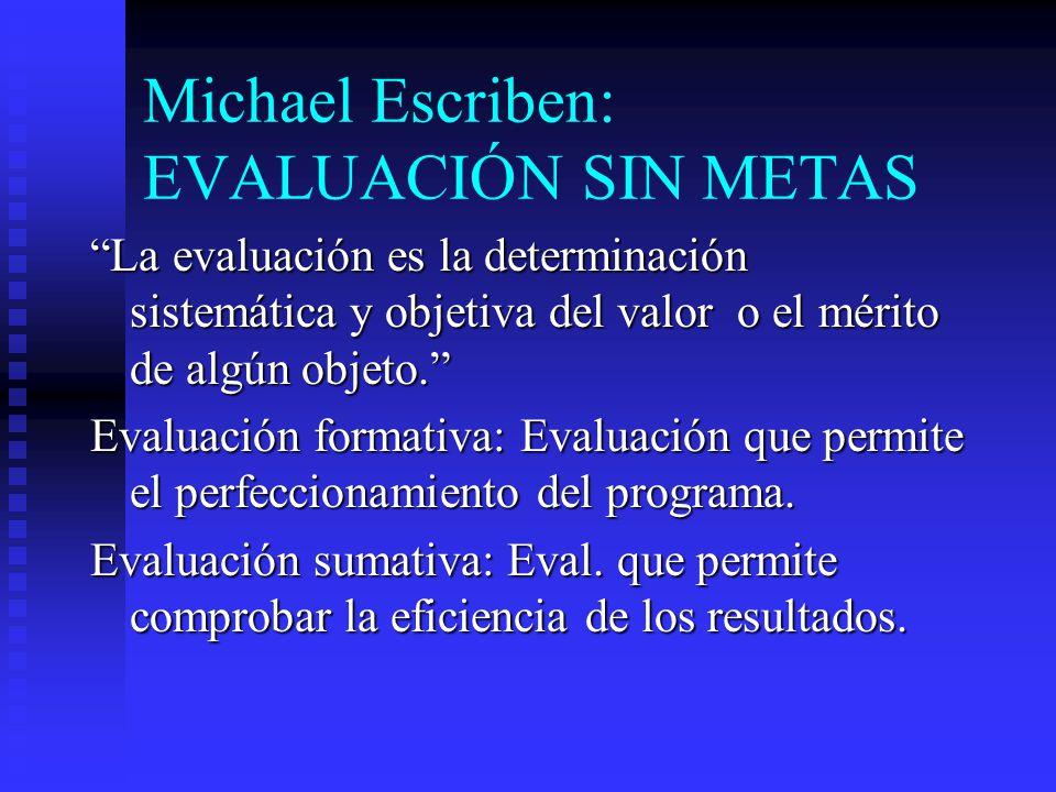 Michael Escriben: EVALUACIÓN SIN METAS La evaluación es la determinación sistemática y objetiva del valor o el mérito de algún objeto. Evaluación form