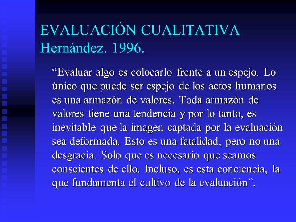 EVALUACIÓN CUALITATIVA Hernández. 1996. Evaluar algo es colocarlo frente a un espejo. Lo único que puede ser espejo de los actos humanos es una armazó