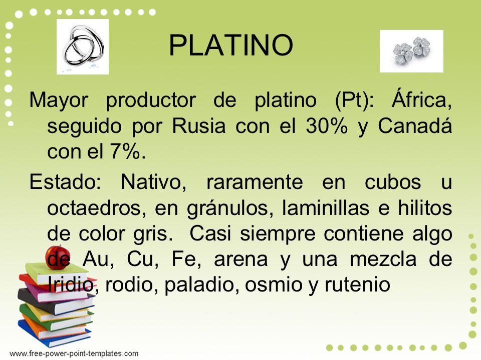 PLATINO Mayor productor de platino (Pt): África, seguido por Rusia con el 30% y Canadá con el 7%.