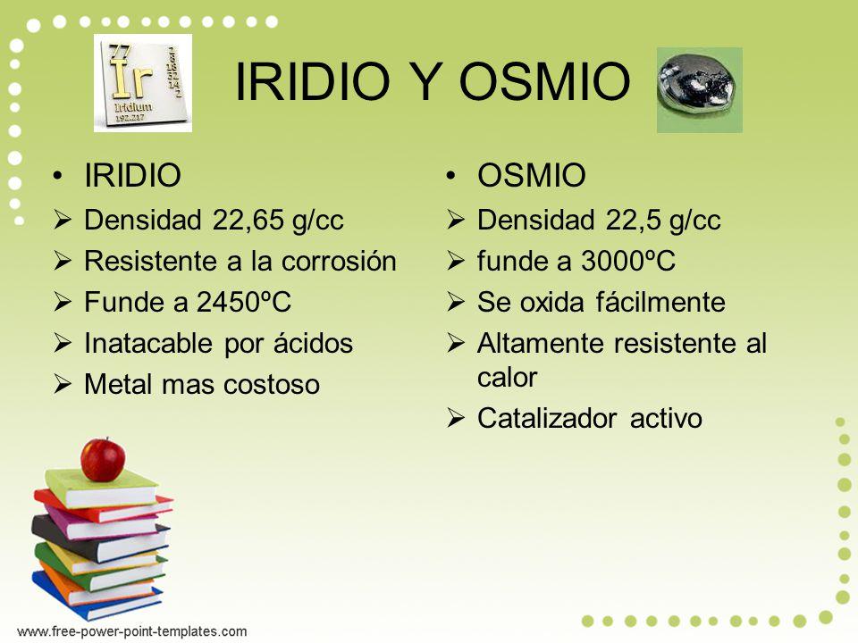 IRIDIO Y OSMIO IRIDIO Densidad 22,65 g/cc Resistente a la corrosión Funde a 2450ºC Inatacable por ácidos Metal mas costoso OSMIO Densidad 22,5 g/cc funde a 3000ºC Se oxida fácilmente Altamente resistente al calor Catalizador activo