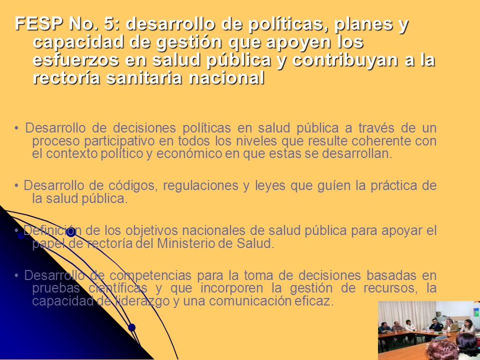 FESP No. 5: desarrollo de políticas, planes y capacidad de gestión que apoyen los esfuerzos en salud pública y contribuyan a la rectoría sanitaria nac