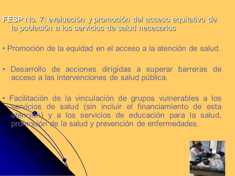 FESP No. 7: evaluación y promoción del acceso equitativo de la población a los servicios de salud necesarios Promoción de la equidad en el acceso a la