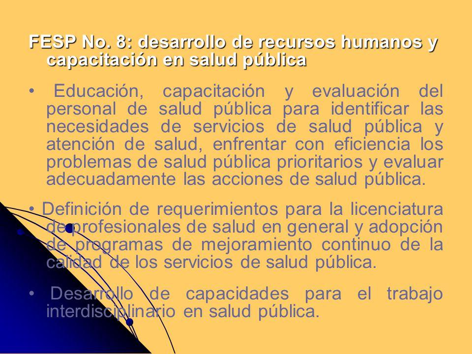 FESP No. 8: desarrollo de recursos humanos y capacitación en salud pública Educación, capacitación y evaluación del personal de salud pública para ide