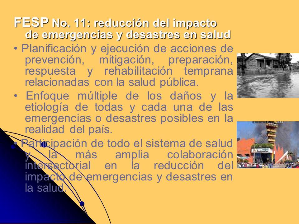 FESP No. 11: reducción del impacto de emergencias y desastres en salud Planificación y ejecución de acciones de prevención, mitigación, preparación, r