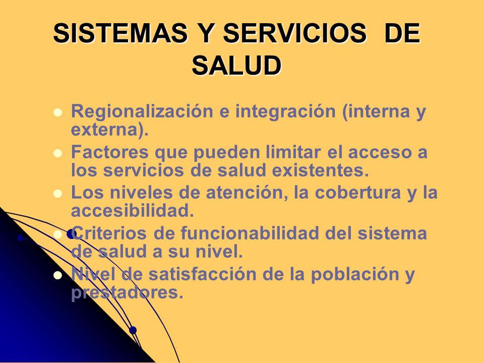SISTEMAS Y SERVICIOS DE SALUD Regionalización e integración (interna y externa). Factores que pueden limitar el acceso a los servicios de salud existe