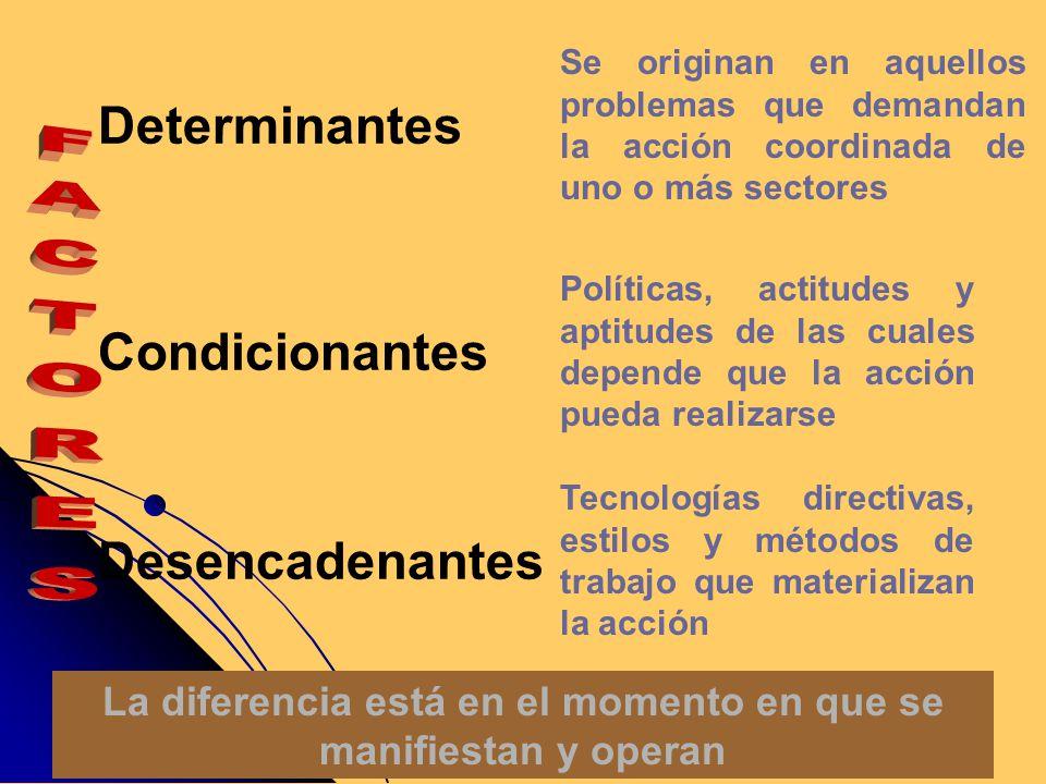 Determinantes Condicionantes Desencadenantes Se originan en aquellos problemas que demandan la acción coordinada de uno o más sectores Políticas, acti