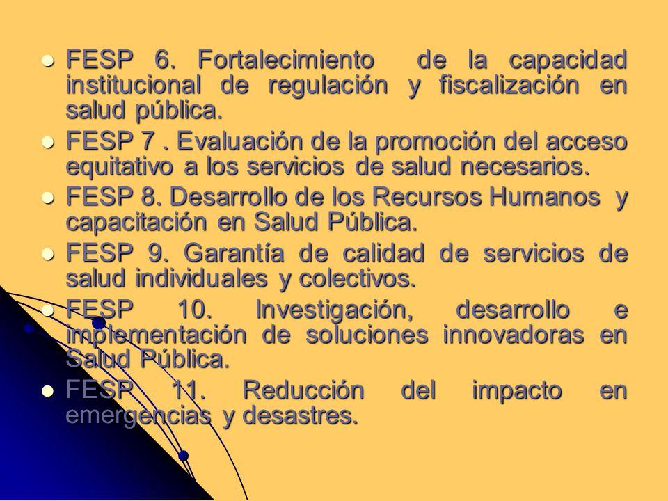 FESP 6. Fortalecimiento de la capacidad institucional de regulación y fiscalización en salud pública. FESP 6. Fortalecimiento de la capacidad instituc