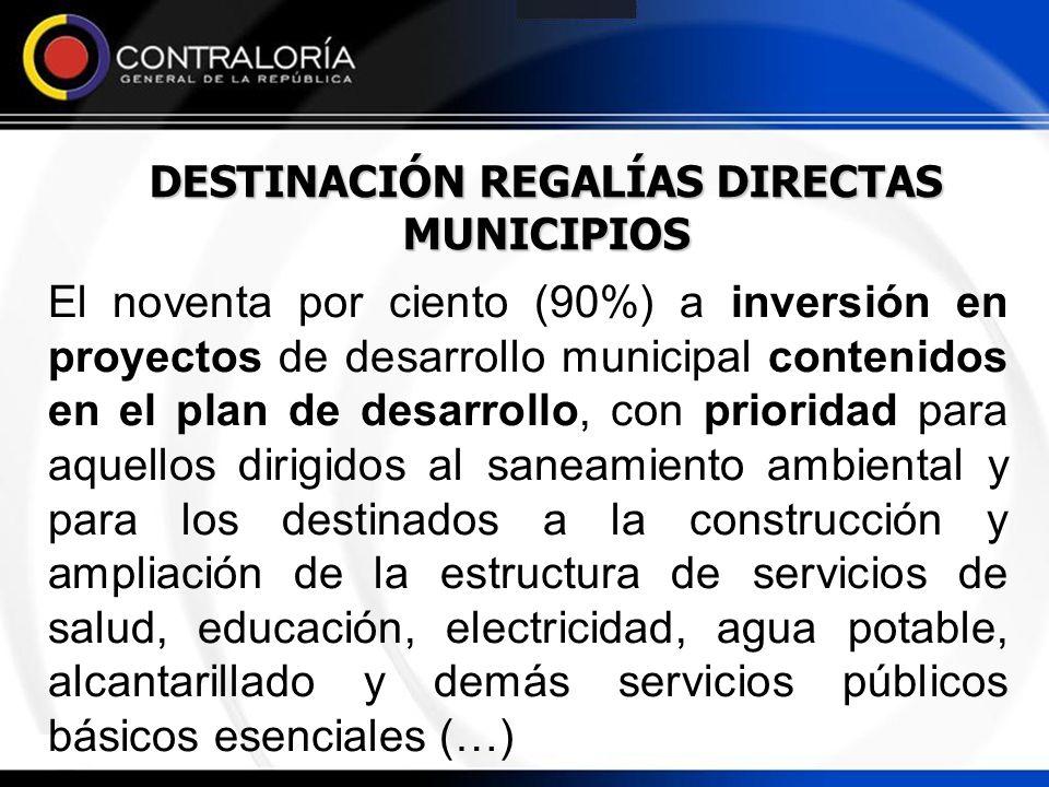 DESTINACIÓN REGALÍAS DIRECTAS MUNICIPIOS El noventa por ciento (90%) a inversión en proyectos de desarrollo municipal contenidos en el plan de desarro