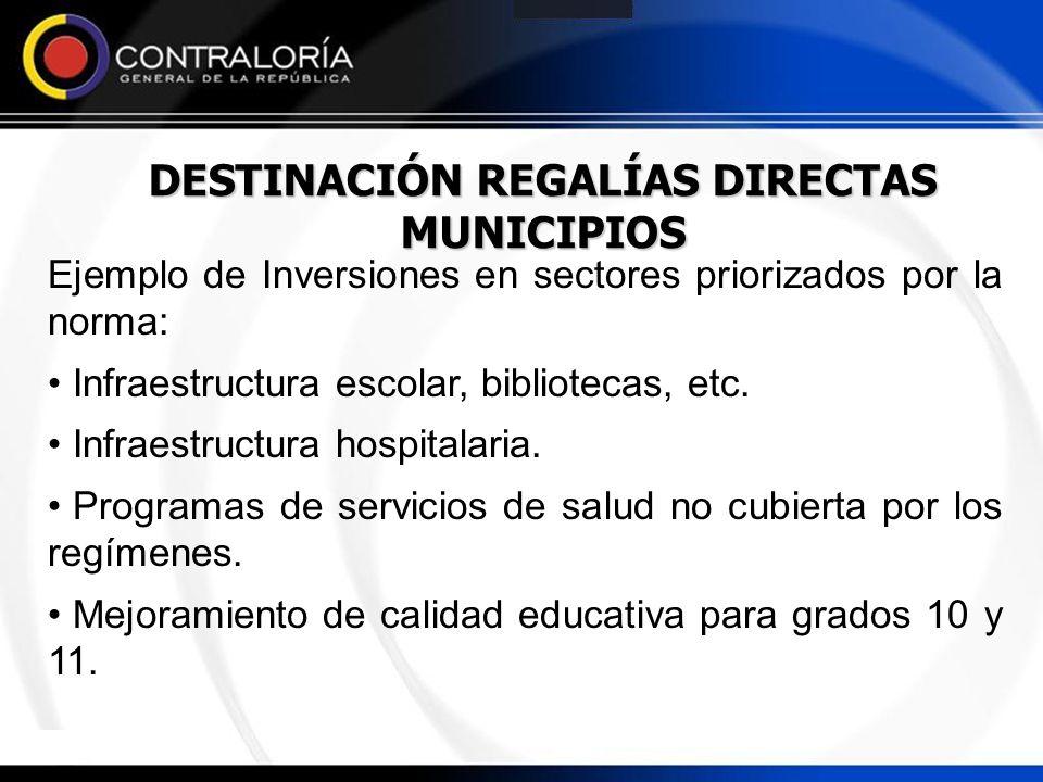 DESTINACIÓN REGALÍAS DIRECTAS MUNICIPIOS Ejemplo de Inversiones en sectores priorizados por la norma: Infraestructura escolar, bibliotecas, etc. Infra