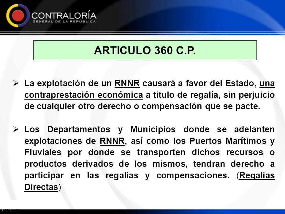 ARTICULO 360 C.P. La explotación de un RNNR causará a favor del Estado, una contraprestación económica a titulo de regalía, sin perjuicio de cualquier