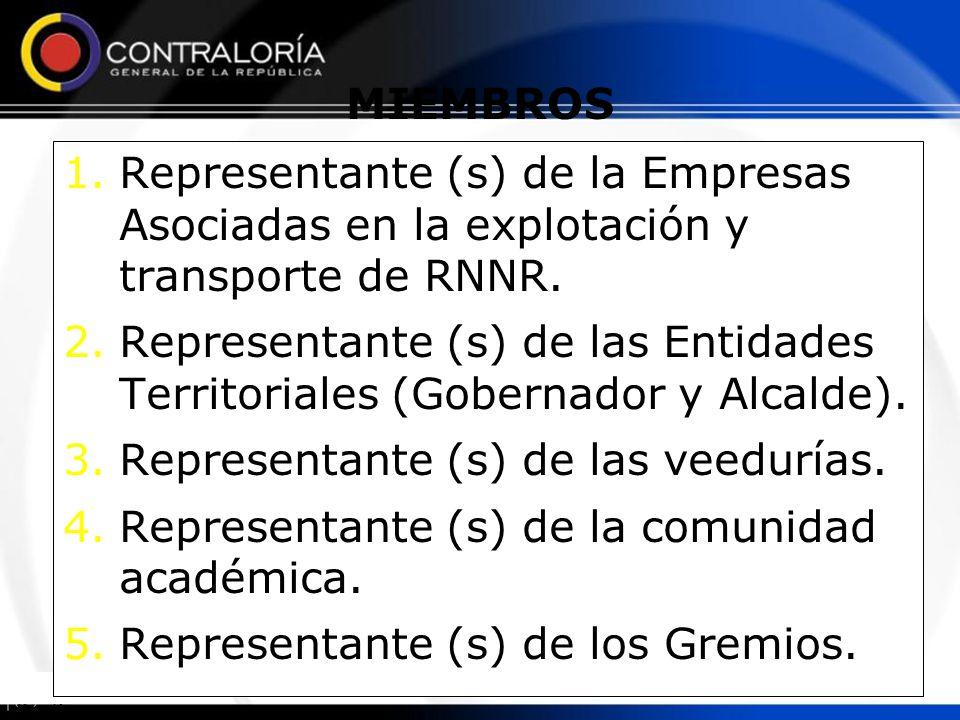 1.Representante (s) de la Empresas Asociadas en la explotación y transporte de RNNR. 2.Representante (s) de las Entidades Territoriales (Gobernador y