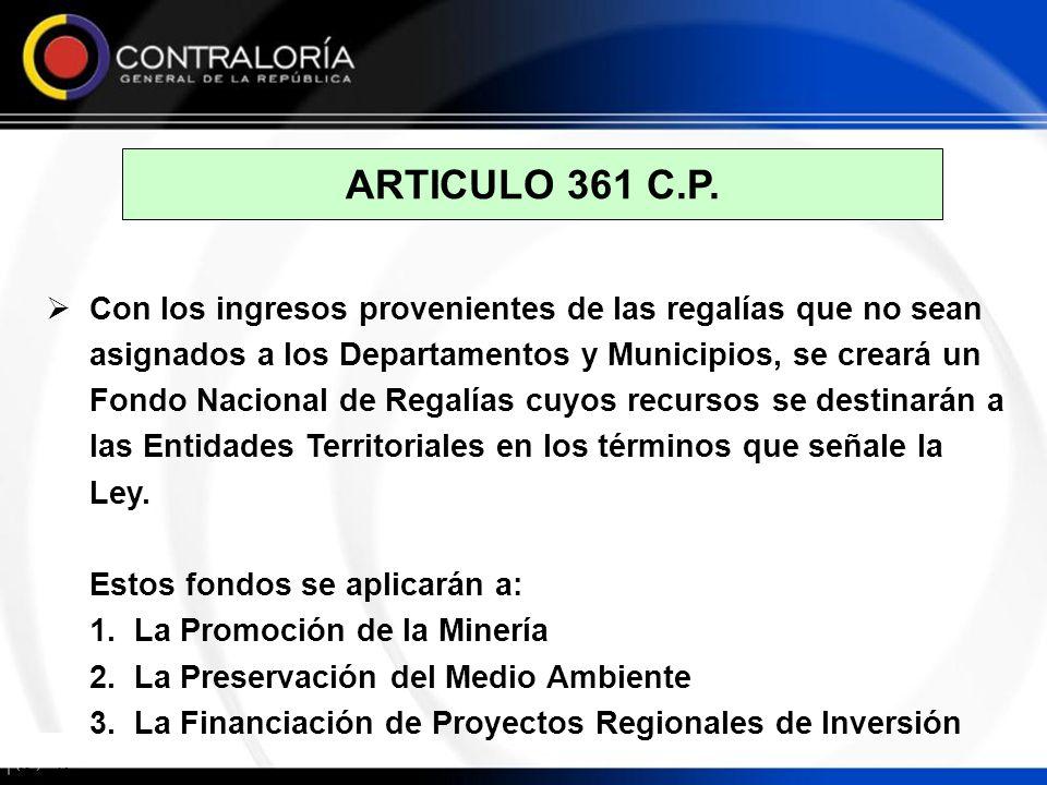 ARTICULO 361 C.P. Con los ingresos provenientes de las regalías que no sean asignados a los Departamentos y Municipios, se creará un Fondo Nacional de