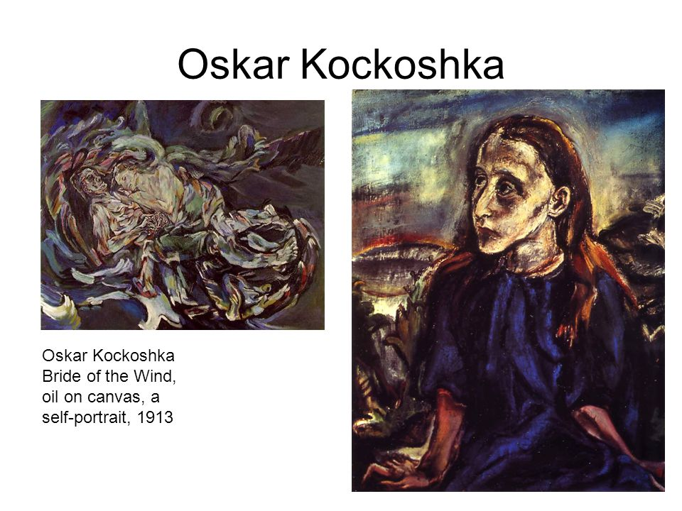 Oskar Kockoshka Oskar Kockoshka Bride of the Wind, oil on canvas, a self-portrait, 1913