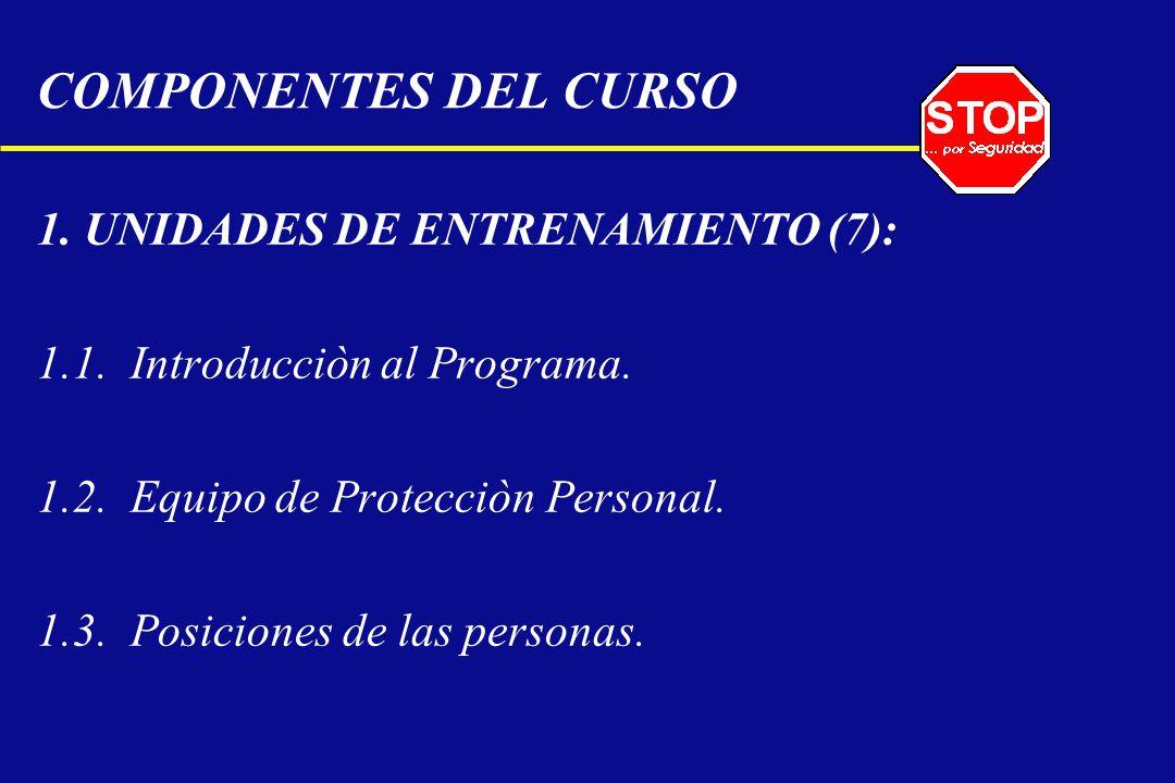 COMPONENTES DEL CURSO 1. UNIDADES DE ENTRENAMIENTO (7): 1.1. Introducciòn al Programa. 1.2. Equipo de Protecciòn Personal. 1.3. Posiciones de las pers