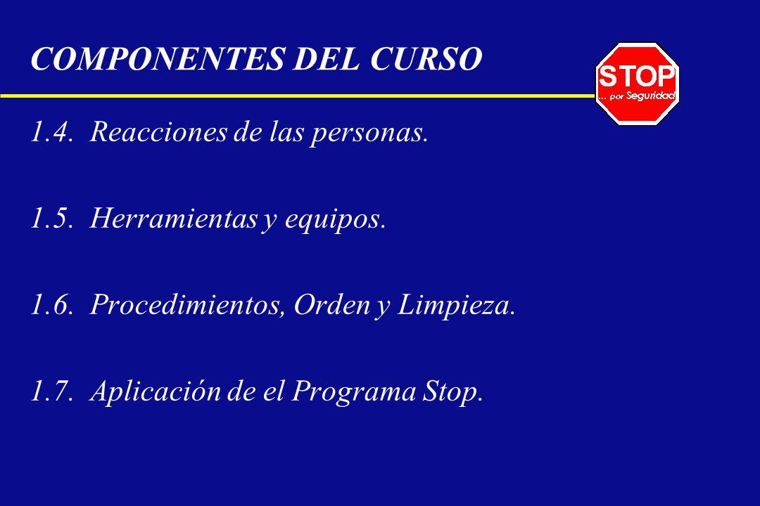 1.4. Reacciones de las personas. 1.5. Herramientas y equipos. 1.6. Procedimientos, Orden y Limpieza. 1.7. Aplicación de el Programa Stop. COMPONENTES