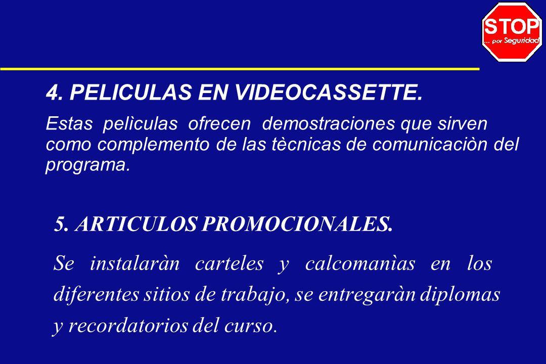 4. PELICULAS EN VIDEOCASSETTE. Estas pelìculas ofrecen demostraciones que sirven como complemento de las tècnicas de comunicaciòn del programa. 5. ART