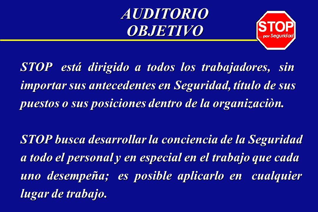 AUDITORIO OBJETIVO STOP entrena a todo el personal, para que sean expertos en : OBSERVARANALIZARCORREGIR PREVENIR Y REPORTAR los actos y condiciones inseguras.