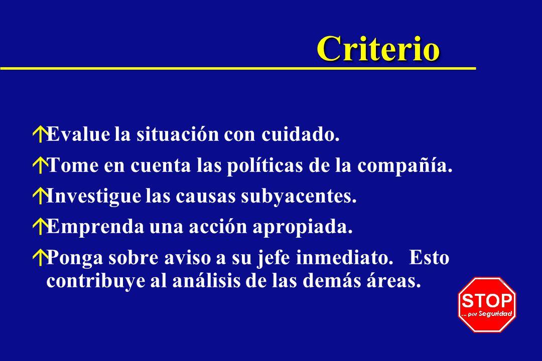 CriterioCriterio áEvalue la situación con cuidado. áTome en cuenta las políticas de la compañía. áInvestigue las causas subyacentes. áEmprenda una acc