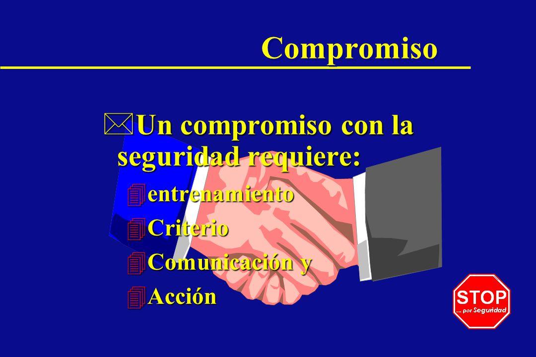 Compromiso *Un compromiso con la seguridad requiere: 4entrenamiento 4Criterio 4Comunicación y 4Acción