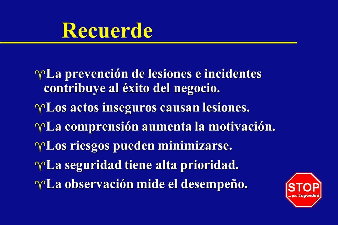 Recuerde ^ La prevención de lesiones e incidentes contribuye al éxito del negocio. ^ Los actos inseguros causan lesiones. ^ La comprensión aumenta la