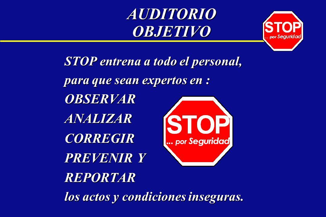AUDITORIO OBJETIVO STOP entrena a todo el personal, para que sean expertos en : OBSERVARANALIZARCORREGIR PREVENIR Y REPORTAR los actos y condiciones i