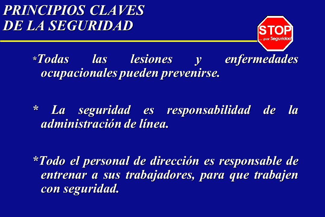 PRINCIPIOS CLAVES DE LA SEGURIDAD * Todas las lesiones y enfermedades ocupacionales pueden prevenirse. * La seguridad es responsabilidad de la adminis