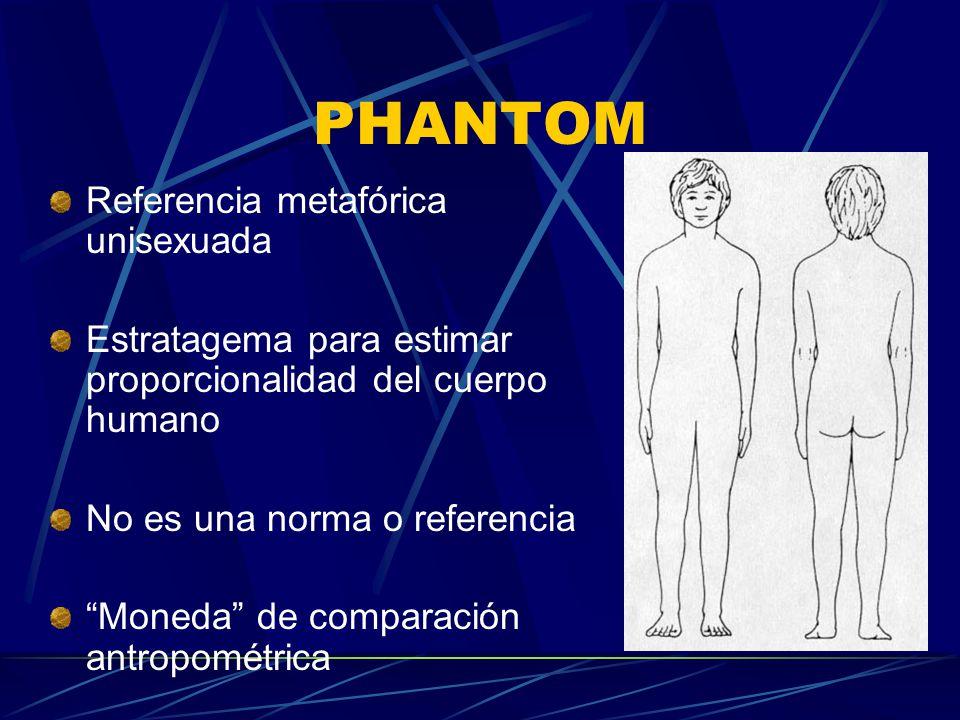 PHANTOM Referencia metafórica unisexuada Estratagema para estimar proporcionalidad del cuerpo humano No es una norma o referencia Moneda de comparació