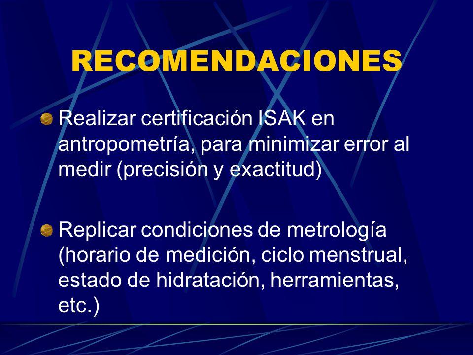 RECOMENDACIONES Realizar certificación ISAK en antropometría, para minimizar error al medir (precisión y exactitud) Replicar condiciones de metrología