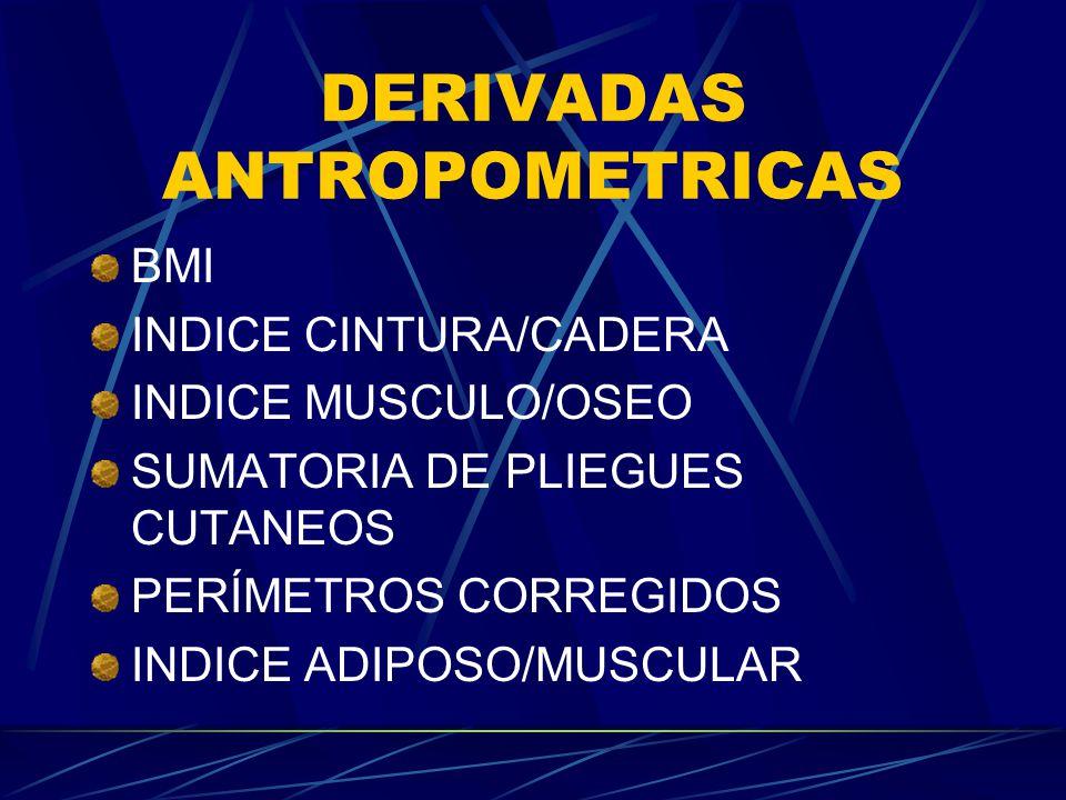 DERIVADAS ANTROPOMETRICAS BMI INDICE CINTURA/CADERA INDICE MUSCULO/OSEO SUMATORIA DE PLIEGUES CUTANEOS PERÍMETROS CORREGIDOS INDICE ADIPOSO/MUSCULAR