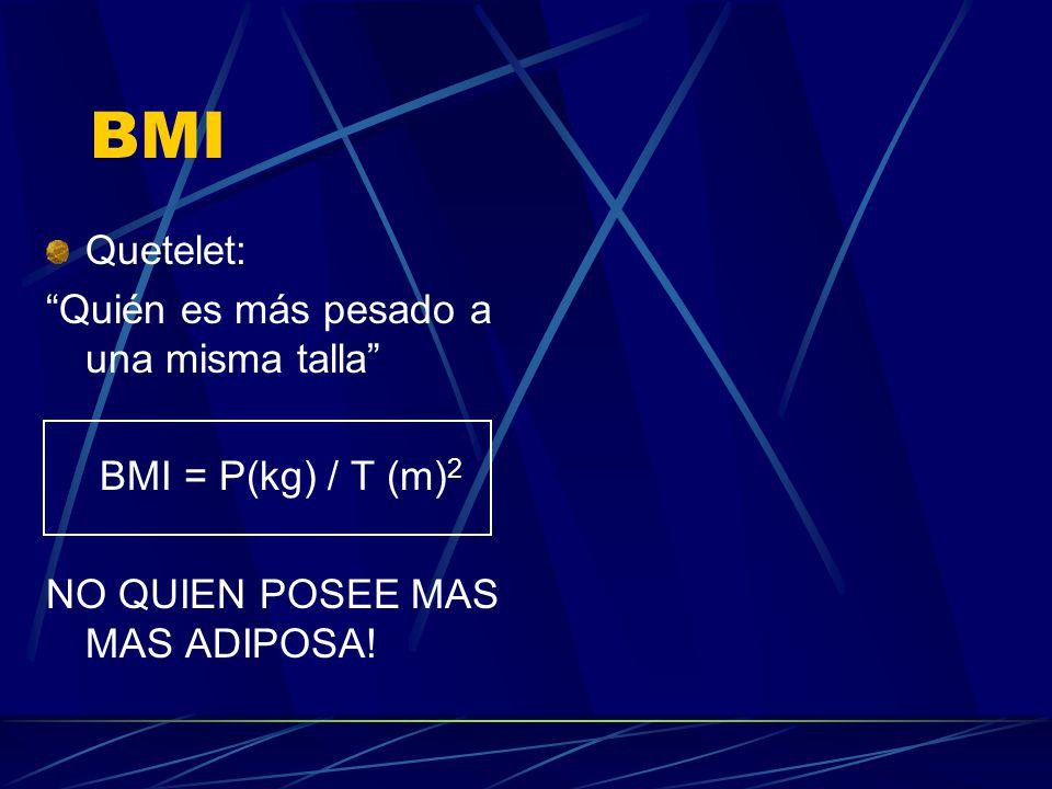 BMI Quetelet: Quién es más pesado a una misma talla BMI = P(kg) / T (m) 2 NO QUIEN POSEE MAS MAS ADIPOSA!