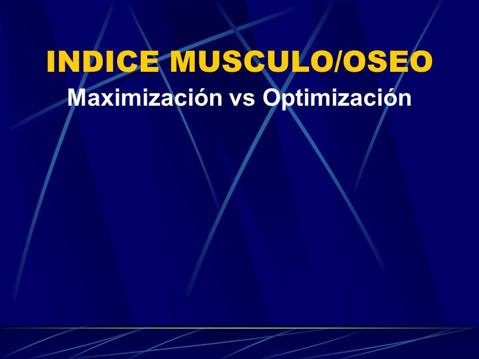 INDICE MUSCULO/OSEO Maximización vs Optimización