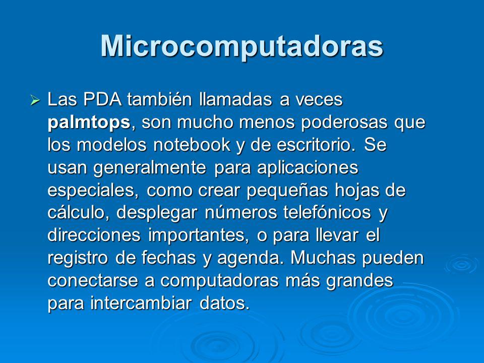 Microcomputadoras Las PDA también llamadas a veces palmtops, son mucho menos poderosas que los modelos notebook y de escritorio.