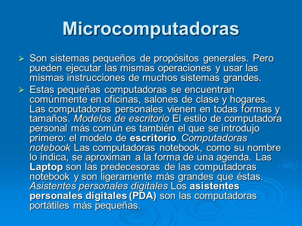 Microcomputadoras Son sistemas pequeños de propósitos generales.