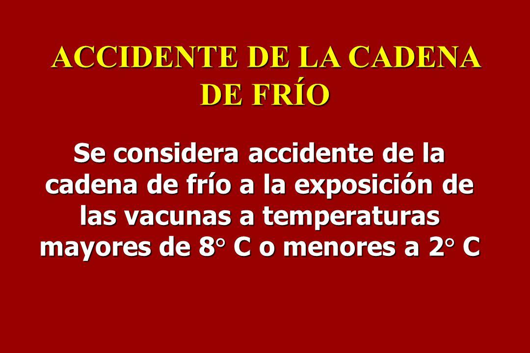 Se considera accidente de la cadena de frío a la exposición de las vacunas a temperaturas mayores de 8° C o menores a 2° C ACCIDENTE DE LA CADENA DE F