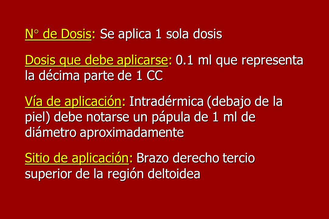 N° de Dosis: Se aplica 1 sola dosis Dosis que debe aplicarse: 0.1 ml que representa la décima parte de 1 CC Vía de aplicación: Intradérmica (debajo de