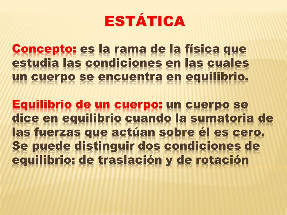 Primera condición de equilibrio (Traslación) Un cuerpo se encuentra en equilibrio de traslación cuando la sumatoria de las fuerzas que actúan sobre él es cero.