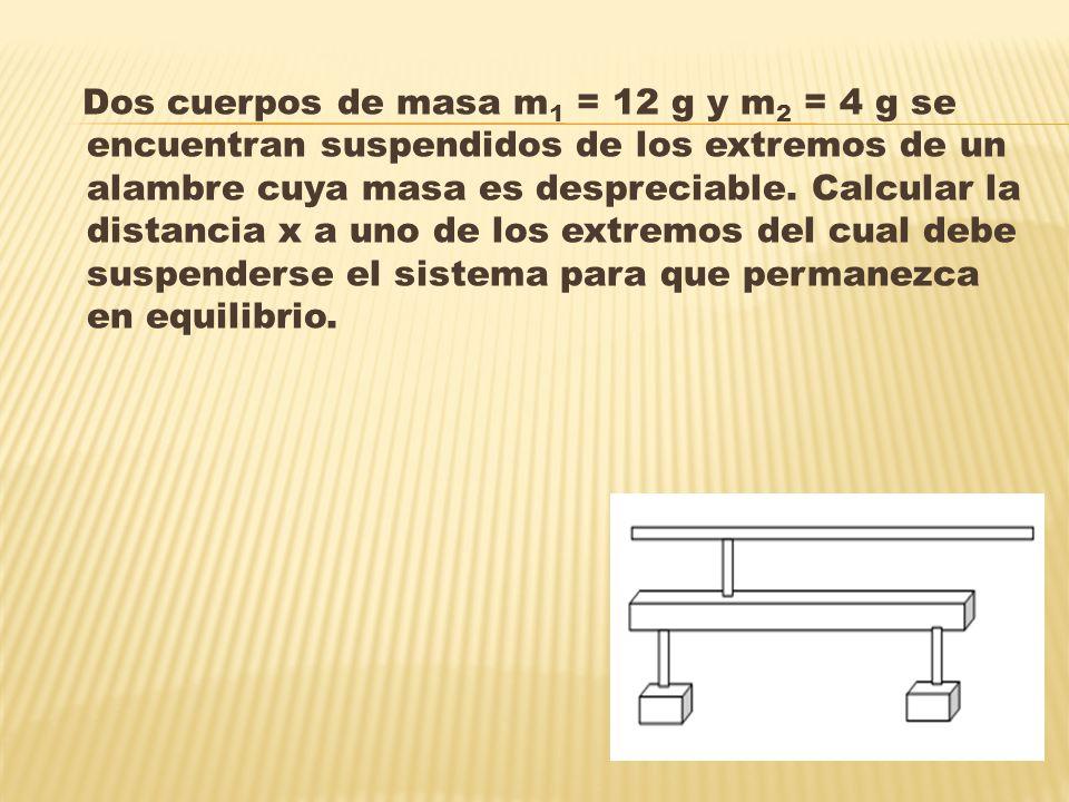 Dos cuerpos de masa m 1 = 12 g y m 2 = 4 g se encuentran suspendidos de los extremos de un alambre cuya masa es despreciable.