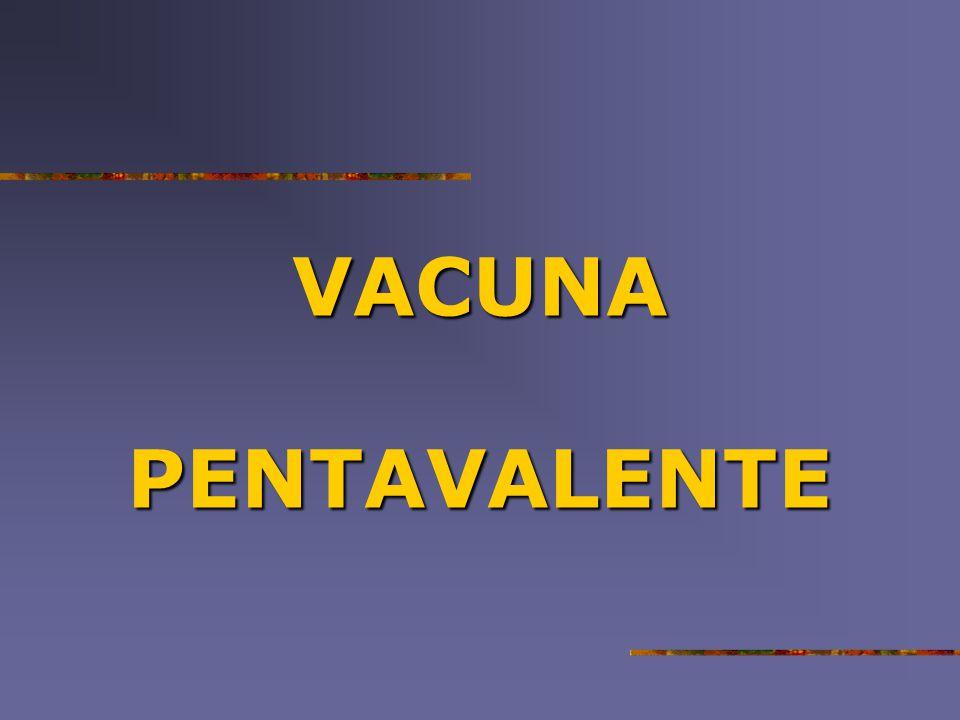 La vacunapentavalente La vacuna pentavalente Es vacuna combinada que protege al menos contra seis enfermedades: Es vacuna combinada que protege al menos contra seis enfermedades:Difteria Tos ferina Tos ferina Tétanos Tétanos Hepatitis B Hepatitis B Meningitis y Neumonías por Hib Meningitis y Neumonías por Hib